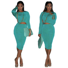 Solid Long Sleeve Ruched Hollow Midi Dress MDUO-M004