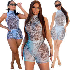 Sexy Mesh Printed Half High Neck Bodysuit And Shorts Two Piece Sets ASL-6370
