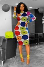 Casual Printed Long Sleeve Midi Dress MDUO-M016