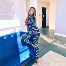 Chain Print V Neck Long Sleeve Jumpsuit MDUO-M003