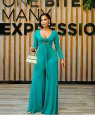 Solid Long Sleeve Tie-Up Wide Leg Jumpsuit OMMF-1355
