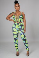 Fashion Sexy Print Bandage Hollow Camisole And Pants 2 Piece Sets DFNA-5220