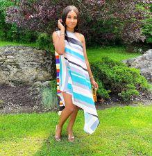 Printed Loose Sleeveless Irregular Dress DFNA-5227