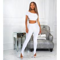 Fashion Off Shoulder Top Hem Split Pants Suit ASL-6375
