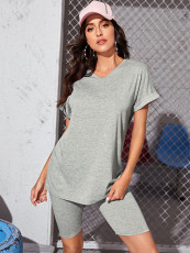 Casual Solid V Neck T Shirt And Shorts 2 Piece Sets LSD-8854