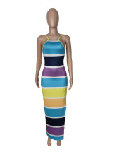 Colorful Striped Spaghetti Strap Backless Split Maxi Dress MDUO-M022