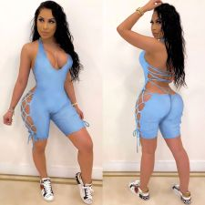 Solid Color Bandage Hollow Sexy Playsuits ASL-6265
