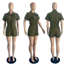 Casual Solid Short Sleeve Romper TCF-090