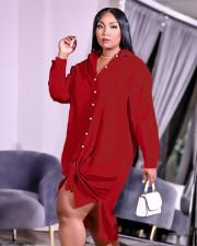 Plus Size Solid Long Sleeve Loose Shirt Dress YUHF-80866