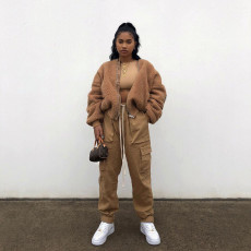 Winter Thick Soft Fur Zipper Plush Coat MDUO-M042