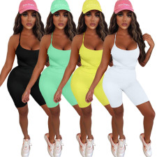 Sexy Solid Color Skinny Twine Rompers ASL-6373