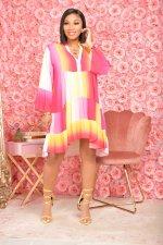 Gradient Long Sleeve Loose Dress APLF-5079