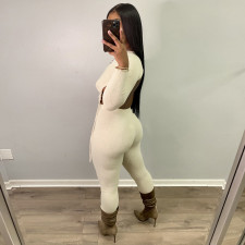 Sexy Solid Backless Drawstring Two Piece Pants Set HHF-9093