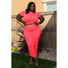 Plus Size Fashion Solid Color Ruched Short Sleeve Long Skirt Suits ASL-7029