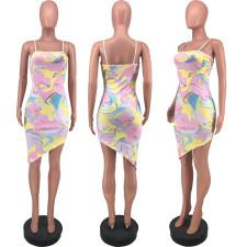 Slim Sexy Print Spaghetti Strap Dress DFNA-5203