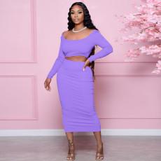 Solid Backless Long Sleeve Crop Top Split Skirt 2 Piece Sets NLAF-6088