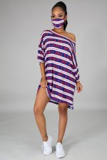 Casual Striped Letter Print Midi Dress With Mask DFNA-5210