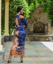 Plus Size Tie Dye Print Long Sleeve Maxi Dress BYMF-60063