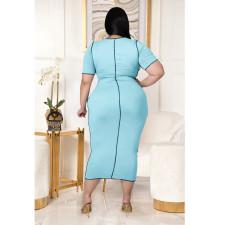 Plus Size Solid Color Hollow Lace Up Dress ASL-7023
