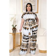 Plus Size Printed Lace-up Top Wide-leg Pants Two Piece Sets ASL-7028