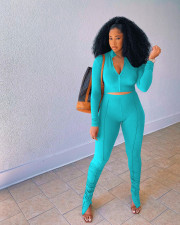 Solid Zipper Long Sleeve Top Stached Pants 2 Piece Sets OYF-8277