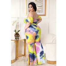 Plus Size Sexy Printed Shirring Lace-up Top Flared Pants Suit ASL-7031