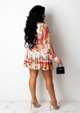 Sexy Printed Shirt Top+Pleated Mini Skirt 2 Piece Sets CM-2149