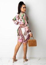Casual Printed Long Sleeve Shirt Dress CM-2151
