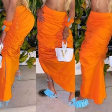 Orange Ruched Irregular Slim Maxi Skirt LSD-81012-2