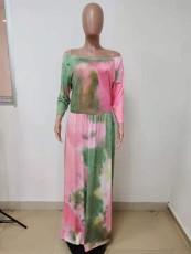 Plus Size Tie Dye Slash Neck 3/4 Sleeve Maxi Dress LSD-81031