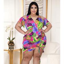 Plus Size V-neck Print Cold Shoulder Shirring Dress ASL-7035