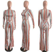 Plus Size Striped Open Back Long Sleeve 2 Piece Sets BYMF-60068
