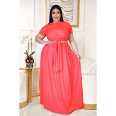 Plus Size Fashion Solid Color Short Sleeve Long Skirt Suits ASL-7025