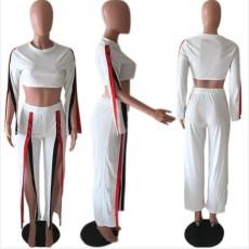 Sexy Long Sleeve High Waist Split Two Piece Pants Set BYMF-60071