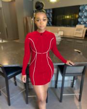 Plus Size Solid Long Sleeve Zipper Mini Dress BYMF-60067