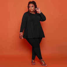 Plus Size Solid Long Sleeve 2 Piece Pants Set YSYF-7536