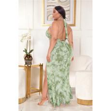 Plus Size Tie-dye Printed Lace-Up Split Skirt Suits ASL-7032
