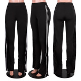 Casual Solid Mid Waist Pants MA-Y444
