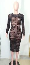 Sexy Geometric Print Long Sleeve See Through Midi Dress SH-390193