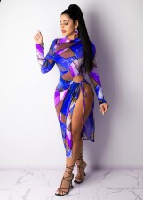 Sexy Printed Long Sleeve Split Midi Dress YMT-6230
