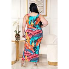 Plus Size Fashion Printed Shirring Slit Dress ASL-7033