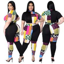 Plus Size Printed Contrast Color Half High Neck Top And Pants 2 Piece Sets ASL-7027