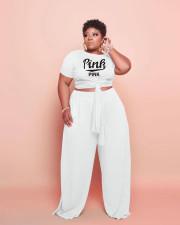 Plus Size Pink Letter Print Two Piece Pants Set WAF-77237