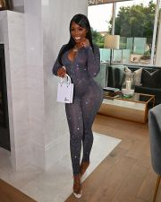 Sexy Mesh Long Sleeve Tight Jumpsuit LM-8274