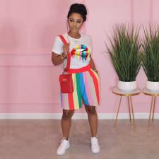 Lip Print T Shirt And Striped Shorts 2 Piece Sets TE-4317