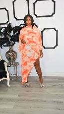 Tie Dye Long Sleeve Irregular Loose Maxi Dress KYF-3092