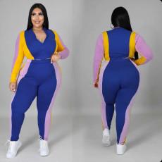 Plus Size Patchwork Zipper Long Sleeve 2 Piece Pants Set ONY-5102