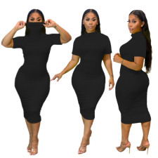 Plus Size Solid Color Short Sleeve Midi Dress SHE-7249