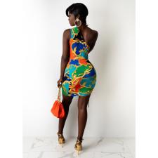 Sexy Printed One Shoulder Hollow Drawstring Mini Dress CHY-1325