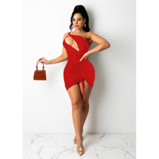 Sexy Solid Color Shirring Hollow Mini Dress SHE-7279